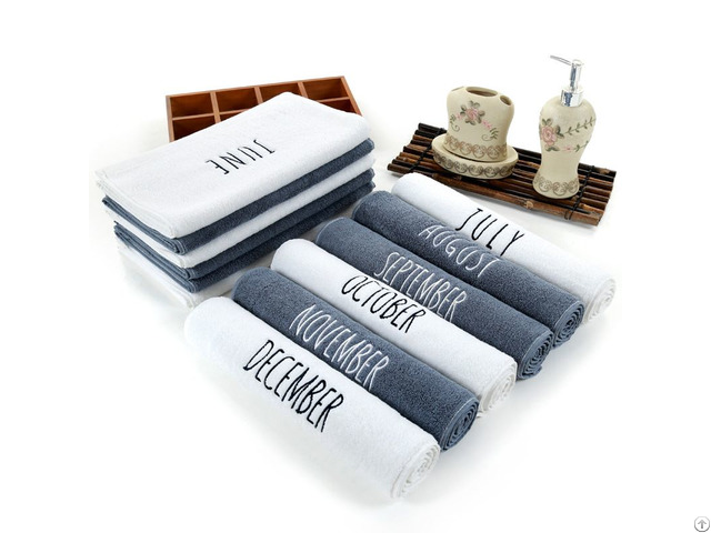 100% Cotton Embroidery 12 Month Towel White Face Hand Towels