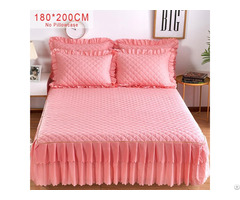 Pink Purple Grey Solid Cotton Single Double Bed Sheetmattress Cover Petticoat Bedspread
