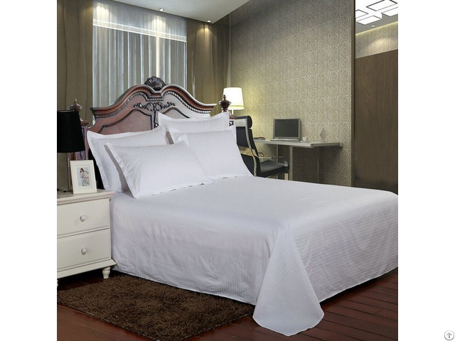 Hotel Bedding White Bed Sheet 100% Cotton Solid Color Flat Sheets