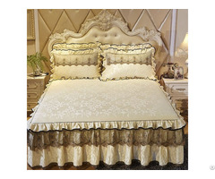Luxury Lace Bedding Skirt Set Velvet Thick Bedspread Bed Linen Pillowcase