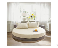 100% Pure Cotton Round Fitted Sheet Solid Color Bedspread Bed Linen