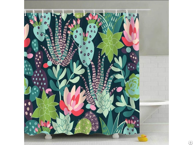 A Variety Of Green Floral Shower Curtain
