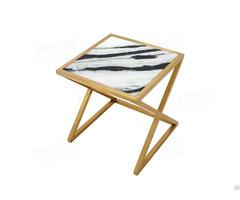 Gold Frame Panda White Side Table