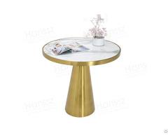 Luxury Golden Pedestal Calacatta White Marble Round Table