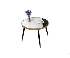 Creative Design Metal Legs Round Black White Marble Table
