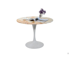 Coated White Metal Frame With Gold Beige Onyx Dining Table Top