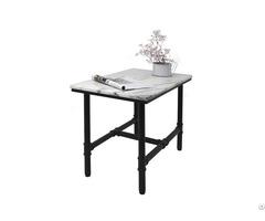 Black Tube Metal Legs Villatic Square White Marble Coffee Table