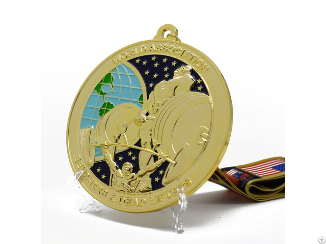 Made In China Custom Metal Zinc Alloy Embossed 3d Gold Plated Enamel Championship Powerlifting Medal