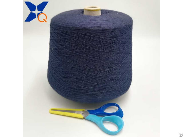 Dark Blue 0 035 Micron Stainless Steel Fine Wire Twist With Ne32 2ply Combed Cotton Yarnve Xt11105