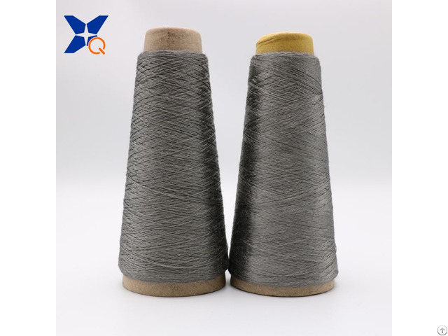 Grey Nm11 2plies 100 Percent Stainless Steel Staple Fiber Ring Spun Yarn For Glass Mould Xt11817