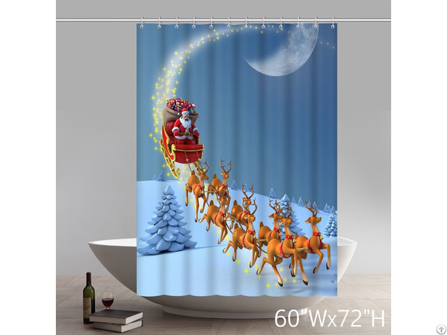 Santa Claus Rides On A Sleigh Pulled By Elk Red Shower Curtains