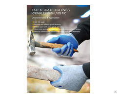 Yarn Latex Wrinkle Non Slip Handling Construction Protective Gloves