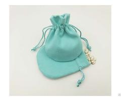 Turquoise Velvet Drawstring Jewelry Bag Round Bottom