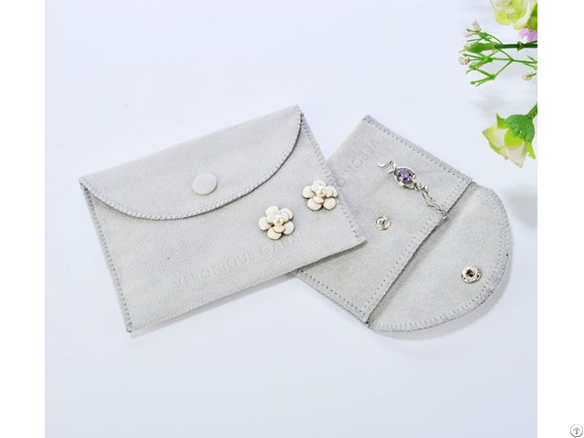 Grey Jewelry Pouch With Velvet Covered Button