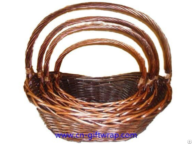 Set Of 4 Boat Shaped Willow Basket Wholesale