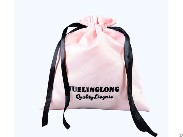 Pink Embroidery Satin Lingerie Travelling Storage Drawstring Bag