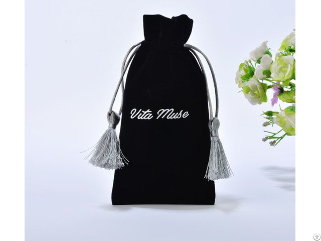 Black Velvet Gift Drawstring Bag With Silver Tassels