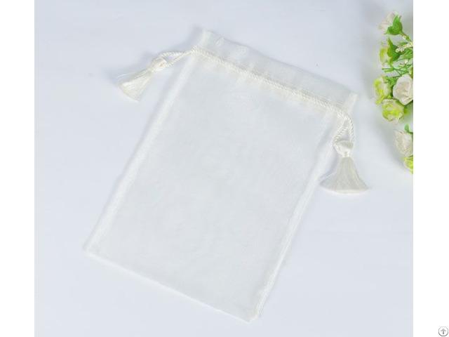 White Tassels Organza Gift Sachet Pouch