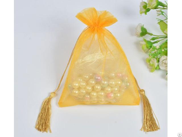 Golden Organza Wedding Favors Gift Bag