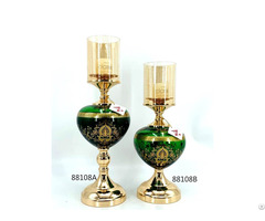 Green Glass Candle Holder For Home