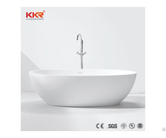 Oval Ghana Glossy Black Solid Surface Bathtub Freestanding Bathroom
