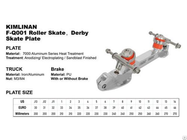 China Professional Good Quality Kimlinan F Q001 Roller Derby Skate Plate