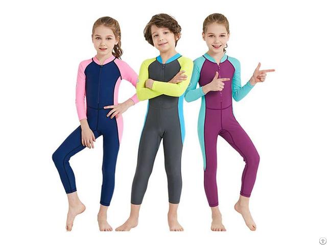 Children One Piece Swimwear Long Sleeve Rash Guard Kids Swimsuit