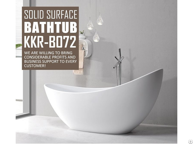 China Pure White Solid Surface Hot Tub Sitting Shower Room And Bathtub