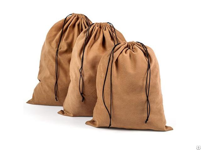 Extra Large Suede Velvet Drawstring Bag