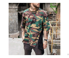 Custom Cotton Camo T Shirts Printed Color Block Oversized Street Wear