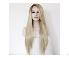 Lindal Ombre Blonde Lace Front Wigs Light Brown Roots Heat Resistant Synthetic Wig For Women