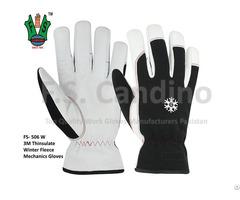 Winter Fleece Leather Mechanics Gloves