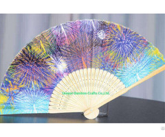 Folding Bamboo Fan With Custom Printed Paper For Gift