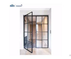 Aluminum Narrow Frame Double Hollow Mute Themered Glass Waterproof Fireproof Door