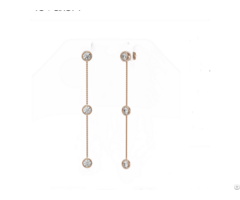18k Rose Gold Round Bezel Setting Diamond Station Dangling Earring