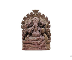 Natural Craft Gitagged Konark Stone Carving Ganesha 5 Faces Sculpture