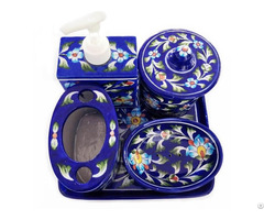 Clay Craft Gitagged Jaipur Blue Pottery Bathroom Accessories Set