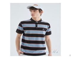 Polo Shirt Trendy Men S Summer New Trend Embroidery Color Striped Knitted Casual Top Aomi R0013