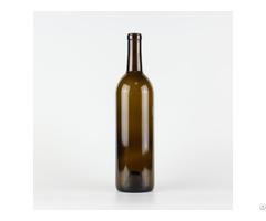 Hot Sale 1042# 750ml Cork Finish Bordeaux Wine Glass Bottle Classical Green