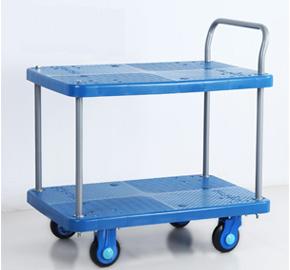 2 Shelf Plastic Noiseless Utility Handcart Mobile Mute Platform Hand Trolley Ls150 T2