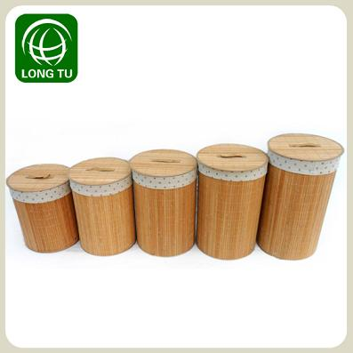 2013 New Fashion And Practical Folding Bamboo Laundry Basket Hamper With A Lid Lining