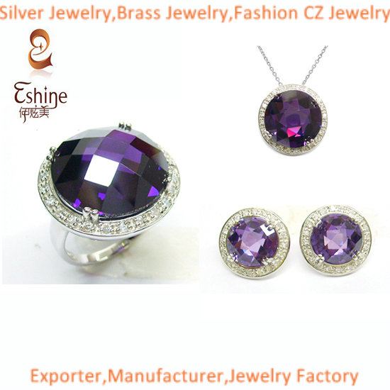 2014 High Quality Brass Cz Jewelry Set With Big Round Amethyst Stones Wedding