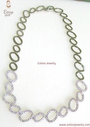 2014 Hot Sale White Rhodium Plated Brass Jewelry Necklace Cz
