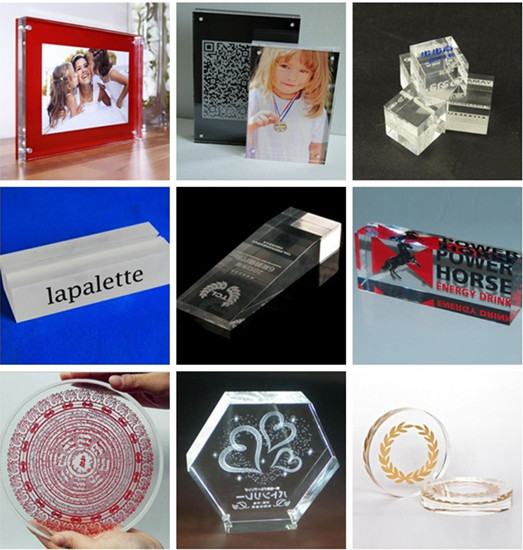 2016 Custom Decorative Clear Engraved Acrylic Blocks Photo Logo Block Design