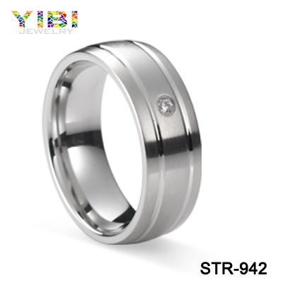 2016 New 6mm Single Diamond Men S Wedding Band Stainless Steel Ring