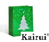 3d Laser Christmas Tree Gift Paper Bag Kr0011 Green