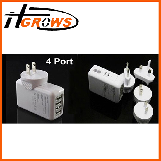4 Port 10w Usb Wall Charger Power Adapter For Ipad Iphone Sumsung Sony Htc Lg Au Us Uk Eu