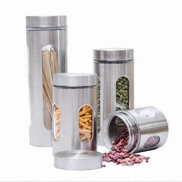 4pc Glass Canister Set W Window In Stainless