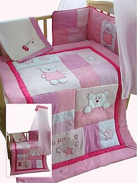 5 Pieces Ensemble De Literie Bebe Ours Rose