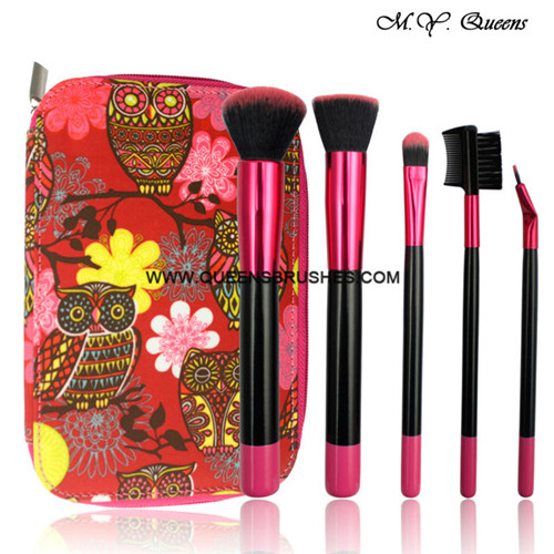 5pcs Makeup Brush Set Cosmetic Brushes Powder Blush Foundation Sponge Puff